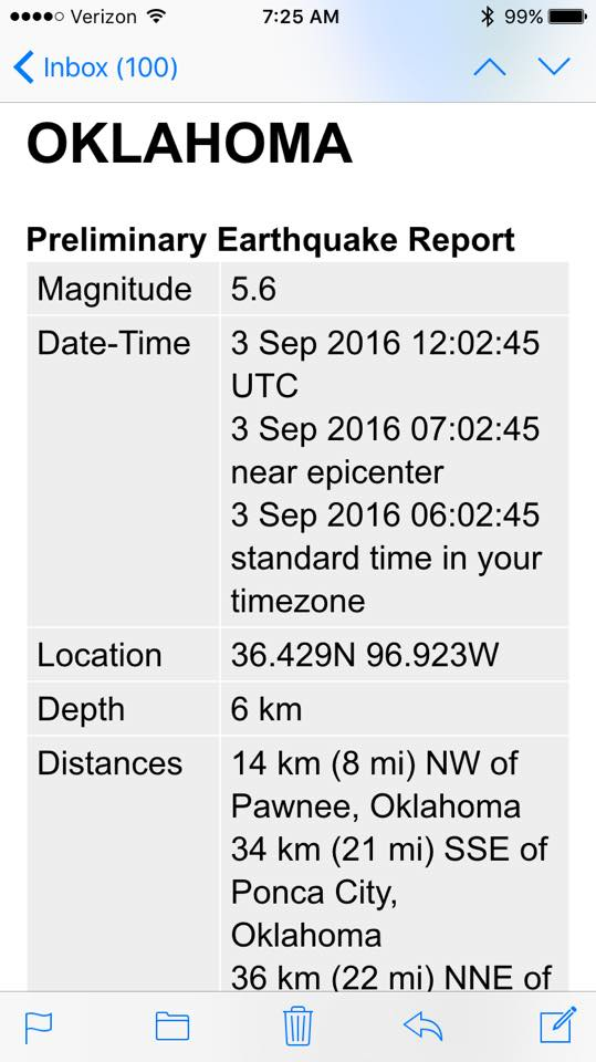9-3-16 Earthquake